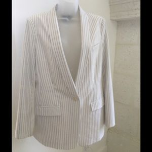 BCBGMaxAzria White Blazer with Blue Pinstripe